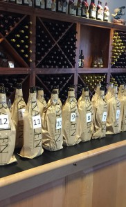 Blind Tasting Wines Lined Up