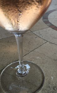 A chilled glass of Special Delivery rosé.