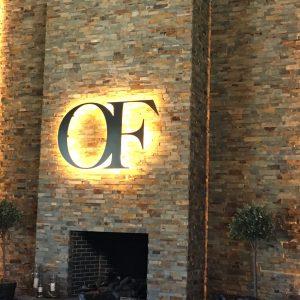 Fireplace in Oak Farm Vineyards Tasting Room